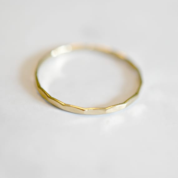 Gold ring, thin ring, gold stacking ring, gold stacker, delicate gold ring, rings for women, hammered ring, minimalist ring, simple ring