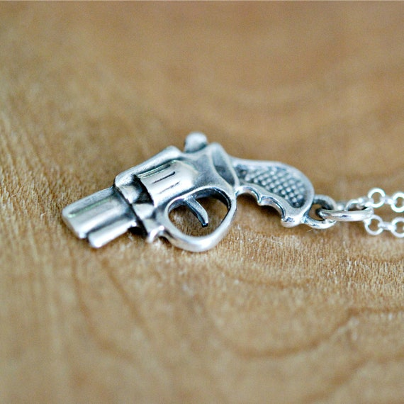 Silver gun necklace, replica, cosplay, pistol necklace, weapon jewelry, law enforcement, revolver necklace, handgun pendant, mens necklace
