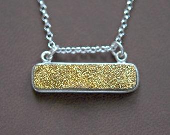 Druzy bar necklace, sterling silver necklace, genuine druzy gemstone, purple druzy, gold druzy, silver druzy necklace, drusy pendant
