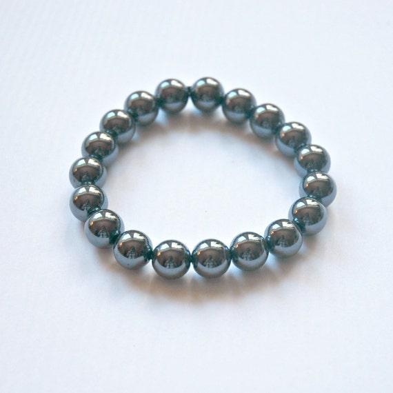 Hematite bracelet, grey gemstone bracelet, mens bracelet, ball bracelet, bohemian jewelry, energy, grounding, balance, beaded bracelet