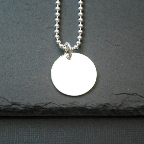 Engravable disk necklace, large sterling silver tag, personalized necklace, round silver pendant, engravable tag, name, date, mens necklace