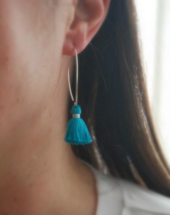 Fringe tassel earrings, sterling silver v hoop earwires, trendy earrings, indian cotton tassels, autumn jewelry, statement earrings