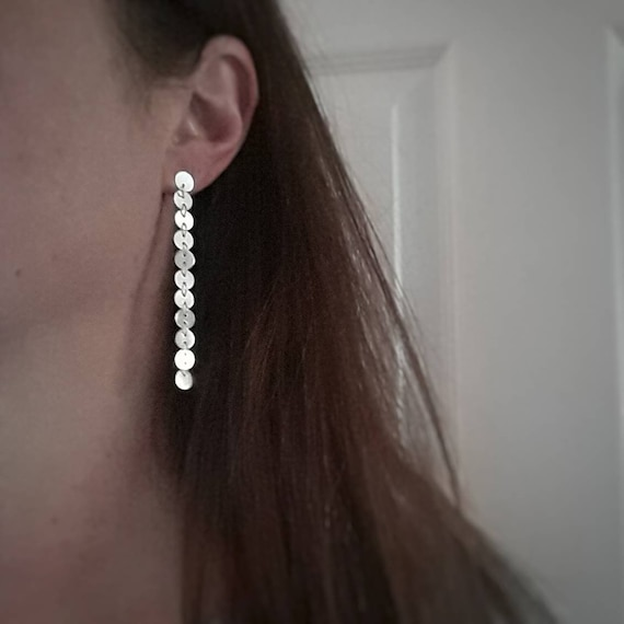 Sterling silver coin chain earrings, disk chain earrings, silver sequin earrings, long silver earrings, dangle earrings, sexy jewelry