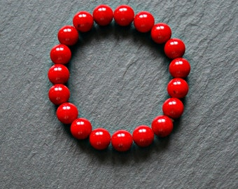 Red sea coral bracelet, red bracelet, red sea bamboo, stacking, beaded, 10mm ball bracelet, bohemian jewelry for her, everything zen