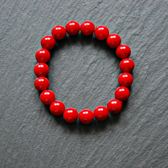 Red sea bamboo gemstone bracelet, red bracelet, sea coral bracelet, christmas jewelry, womens bracelet, beaded bracelet, holiday gift