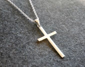 Large cross necklace, sterling silver cross pendant, simple cross, plain cross charm, everyday cross, traditional cross, mens cross