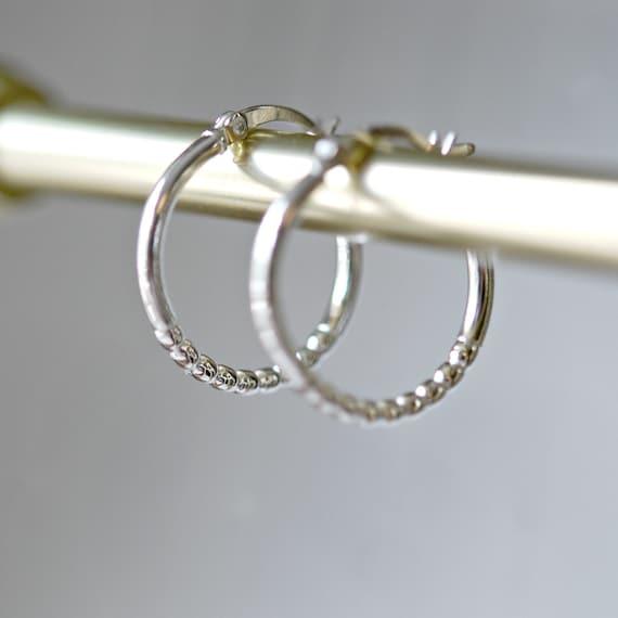 Sterling silver hoop earrings, beaded hoops, gift for women, ball bead hoops, geometric modern jewelry, minimalist earrings, simple hoops