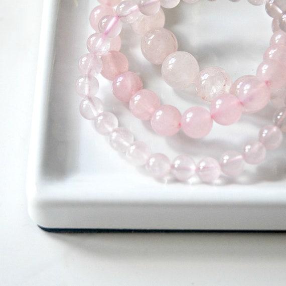 Rose quartz bracelet, pink gemstone bracelet, beaded mala bracelet, ball bracelet, heart chakra, bohemian jewelry, healing bracelet