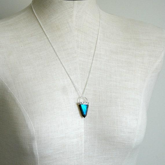 Labradorite necklace, sterling silver necklace, labradorite pendant, sterling silver bail, healing gemstone spike, statement jewelry