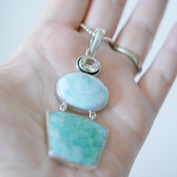 Multi gemstone necklace in sterling silver, green amethyst, larimar, and amazonite