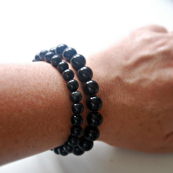 Black obsidian gemstone bracelet, mens bracelet, obsidian bracelet, black gemstone, gifts for boyfriend, stretch bracelet, beaded bracelet