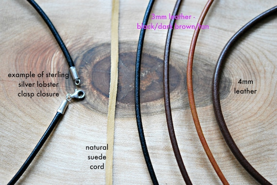 Leather necklace, black leather cord, brown leather, sterling silver clasp, add a pendant, simple mens necklace, boho jewelry