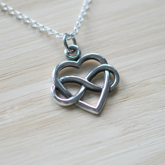 Infinity heart necklace, sterling silver heart pendant, wedding necklace, eternity heart, infinity necklace, romantic gift, heart knot