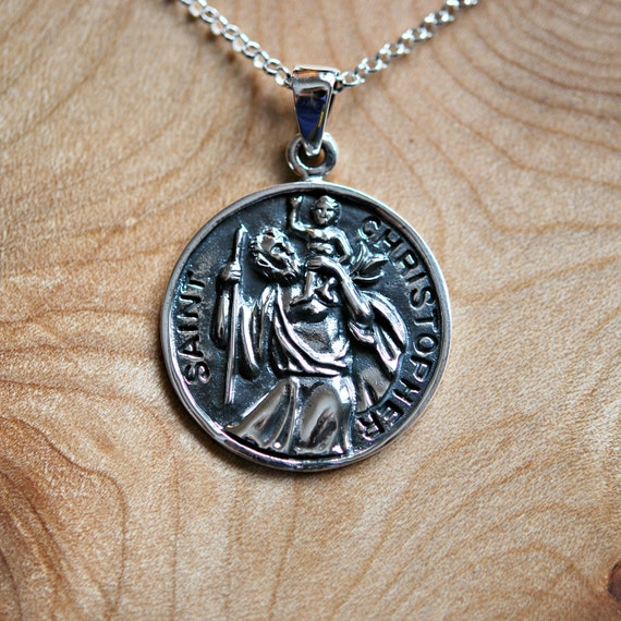 St. Christopher necklace, 925 sterling silver, saint christopher pendant, safe travel land sea air, catholic protection medal christmas gift