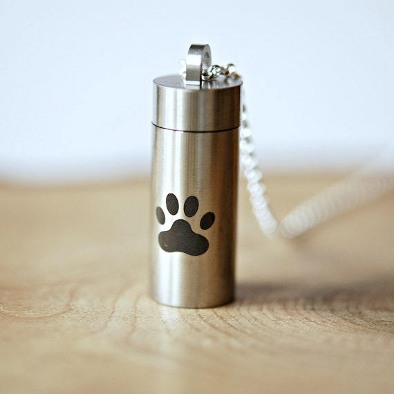 Pet memorial necklace, stainless steel ashes pendant, cremation necklace, pet urn, paw print, secure screw top, pet loss, memorial keepsake