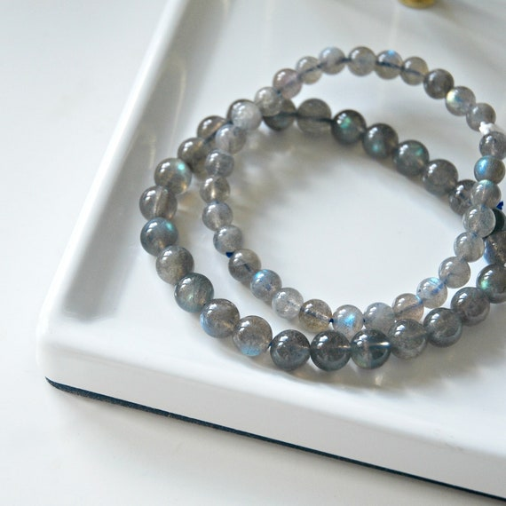 Labradorite bracelet, gemstone bracelet, stacking bracelet, beaded bracelet, 6mm or 8mm gemstones, gift for him, stretch fit, boho jewelry
