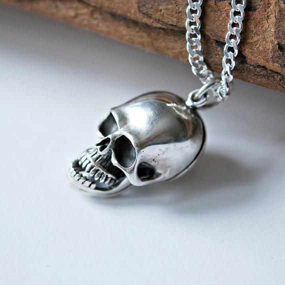 Sterling silver skull stash necklace, skull snuff pendant, poison pendant, mens necklace, large skull locket, pill pendant, gift for him