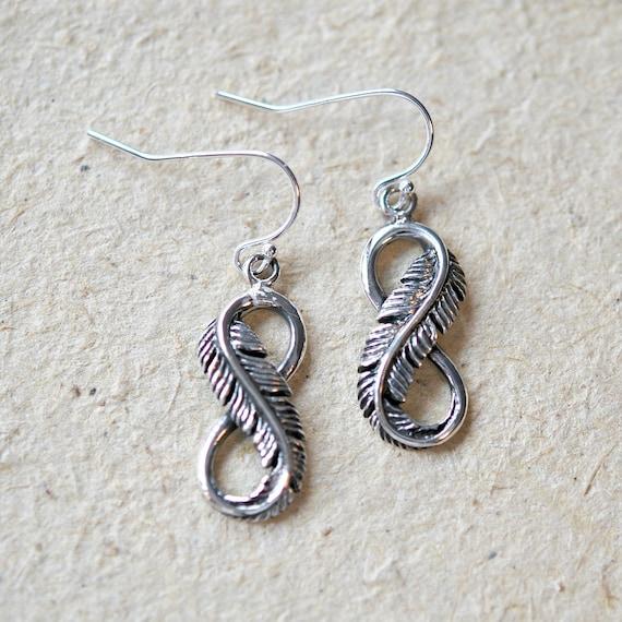 Sterling silver infinity earrings, infinity feathers, boho earrings, feather earrings, silver feather dangle, festival jewelry, fall jewelry