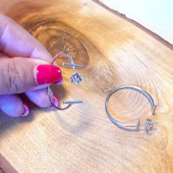 Sterling silver hoop earrings, modern hoops, bar studs, minimalist earrings, bar hoops, bar earrings, t bar, simple earrings, gift for her
