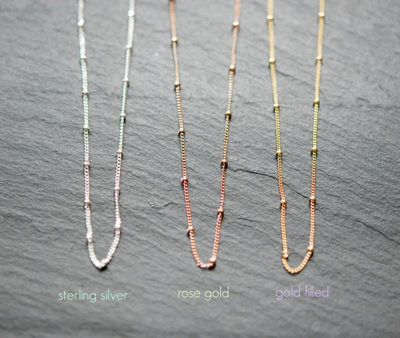 Satellite chain necklace, 925 sterling silver satellite chain, gold satellite necklace, beaded chain, layering necklace, christmas gift