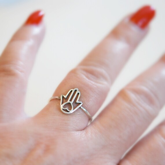 Sterling silver hamsa ring, yoga jewelry, rings for women, hamsa hand, stacking ring, hand of fatima, good luck, protection, hamsa heart