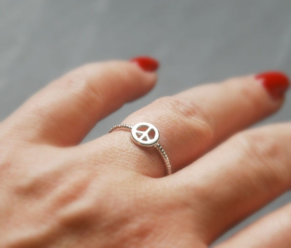 Sterling silver peace ring, stacking rings for women, peace symbol, festival jewelry, hippie ring, boho rings for women, summer of love