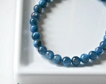 Kyanite bracelet, blue gemstone bracelet, something blue, beaded bracelet, 6mm or 8mm ball bracelet, christmas gift for her bohemian jewelry