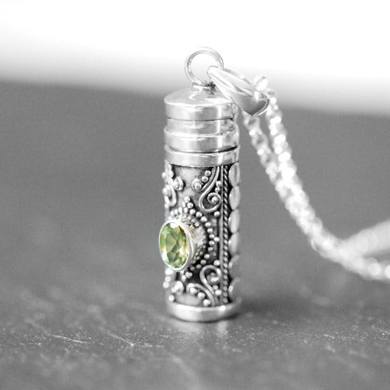 Sterling silver snuff necklace, garnet pendant, amethyst locket, blue topaz necklace, peridot jewelry, gemstone stash pendant, cremation