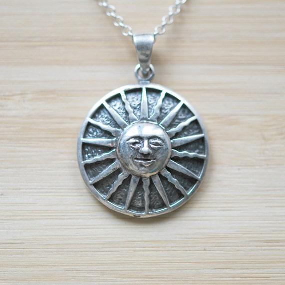 Sun necklace, sterling silver sun pendant, large sun charm, long silver necklace, celestial, smiling sun, festival, boho jewelry, medallion