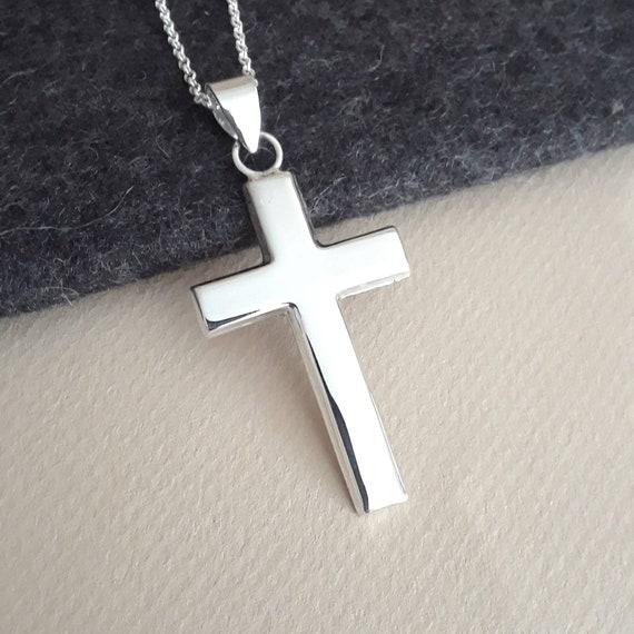 Sterling silver cross necklace, cross pendant, simple cross, everyday cross, traditional cross, unisex cross, classic jewelry, large cross