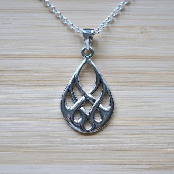 Silver teardrop necklace, 925 sterling silver celtic teardrop pendant, celtic jewelry, christmas gift for women, teardrop necklace
