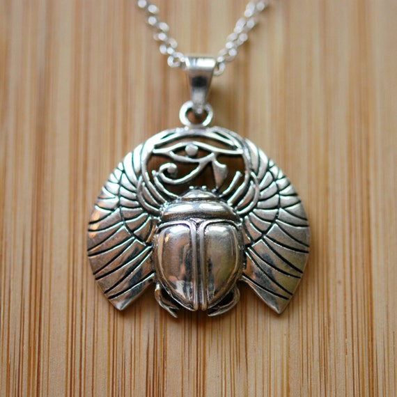 Sterling silver scarab necklace, silver eye of horus, amulet pendant, protection jewelry, eye of ra, Egyptian necklace, beetle pendant