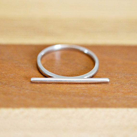 Sterling silver bar ring, stacking rings for women, horizontal bar, geometric ring, modern jewelry, trendy ring, minimalist ring