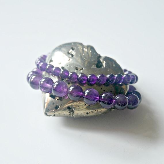 Amethyst bracelet, purple gemstone, gem ball bracelet for her, February birthstone, stacking bracelet, bohemian jewelry, purple bracelet