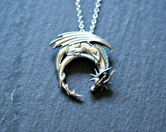 Sterling silver dragon necklace, winged dragon pendant, medieval necklace, dragon charm, fantasy necklace, dragon jewelry, dragon moon