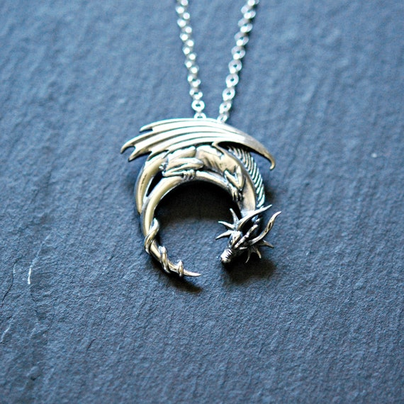 Sterling silver dragon necklace winged dragon on moon etsy image 0 aloadofball Choice Image