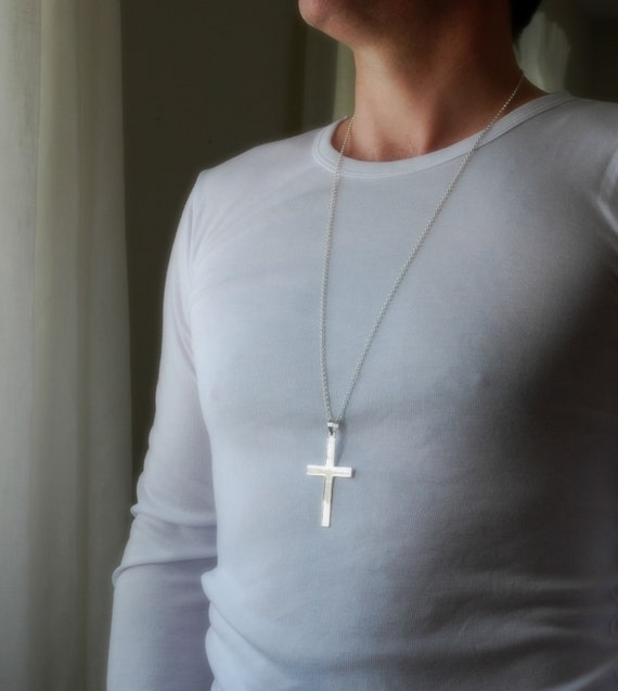 Extra large sterling silver cross necklace, cross pendant, big cross, sterling chain, masculine cross, mens cross, classic jewelry