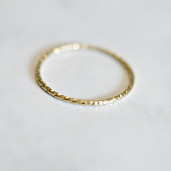 Gold ring, thin ring, gold stacking ring, gold stacker, delicate gold ring, rings for women, diamond cut ring, minimalist ring, simple ring