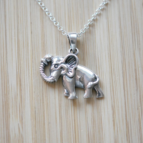 Silver elephant necklace, 925 sterling silver elephant pendant, lucky charm, gift for animal lover, elephant jewelry