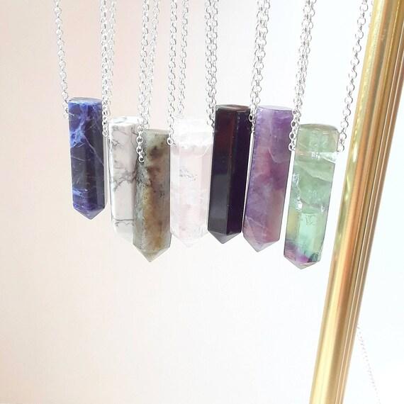 Gemstone spike necklace, clear quartz, labradorite, sodalite, rose quartz, fluorite, amethyst, black obsidian, sterling silver chain