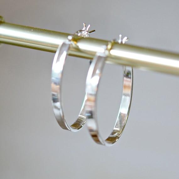 Sterling silver hoop earrings, large hoops, oval hoops, flat hoop earrings, gift for women, geometric, modern jewelry, minimalist hoops