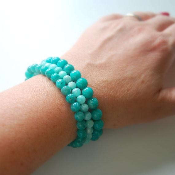 Russian amazonite bracelet, green gemstone bracelet, ball bracelet, chakra balancing, bohemian jewelry, healing bracelet, amazonite gemstone