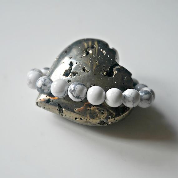 White howlite bracelet, gifts for him, white gemstone, mala, healing, yoga jewelry, marble bracelet, 10mm ball bracelet, bohemian jewelry