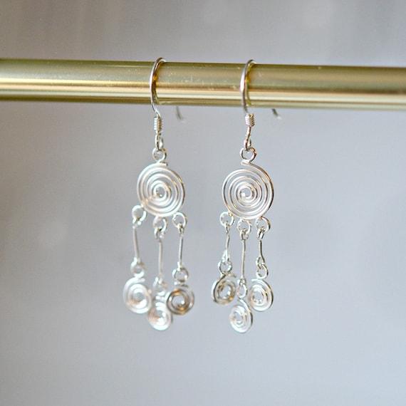 Sterling silver chandelier earrings, bohemian jewelry, sexy earrings, fancy earrings, silver earrings, gypsy earrings, hippie, boho jewelry