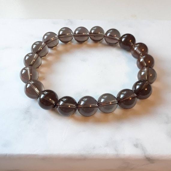Smoky quartz bracelet, brown gemstone bracelet, mens bracelet, 10mm ball bracelet, stacking bracelet, bohemian jewelry, smoky topaz jewelry