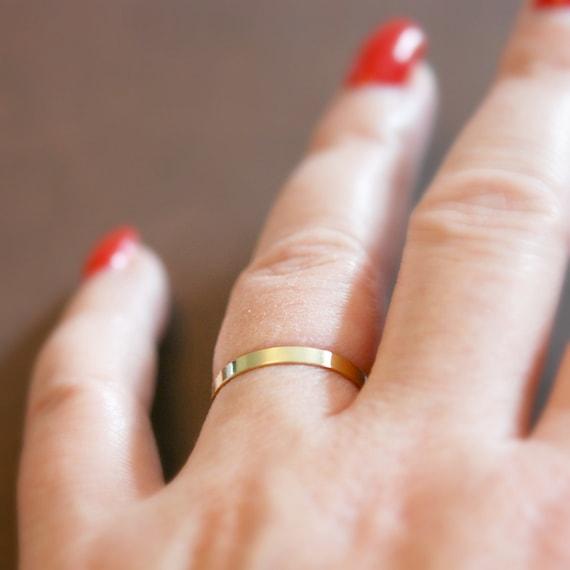 Gold band ring, minimalist wedding band, thin ring, gold stacking ring, gold stacker, delicate gold ring, rings for women, flat band ring