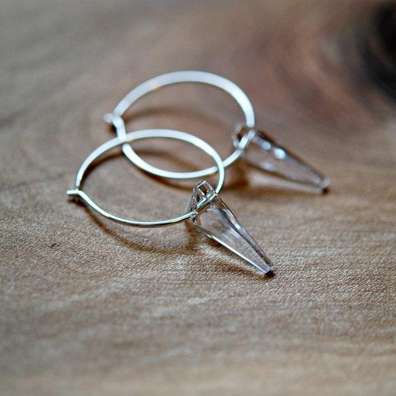 Spike hoop earrings, sterling silver hoops, swarovski crystal hoops, edgy earrings, spike earrings, gift for women, modern jewelry
