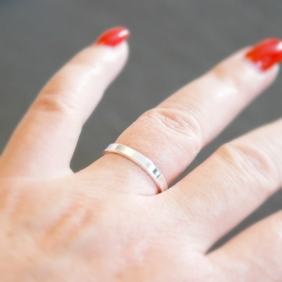 Sterling silver ring, simple wedding band, silver band ring, 3mm band, silver stacking ring, minimalist ring, plain silver ring, simple band
