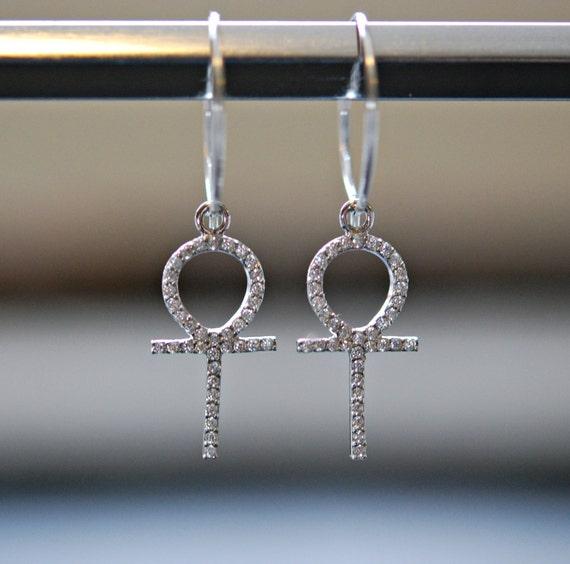 Hoop earrings, diamond ankh hoop earrings, sterling silver hoops, diamond amulet, cubic zirconia, crystal hoops, ankh earrings, modern hoops