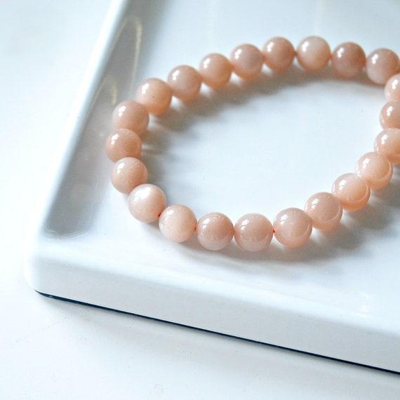 Peach moonstone bracelet, pink moonstone bracelet, peach gemstones, stacking bracelet, christmas gift for her, pink bracelet